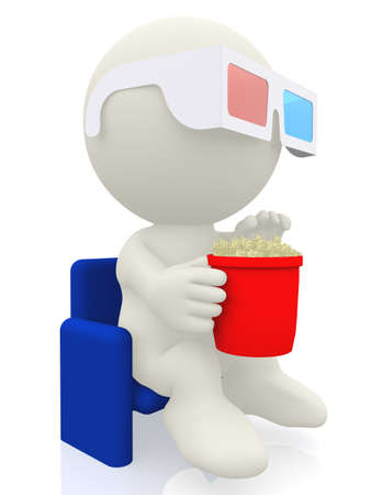 Cartoon with 3D glasses watching a movie at the cinema - isolated over white  Stock Photo - 13670458