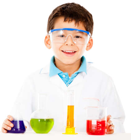 Scientist boy with test tubes - isolated over a white background  photo