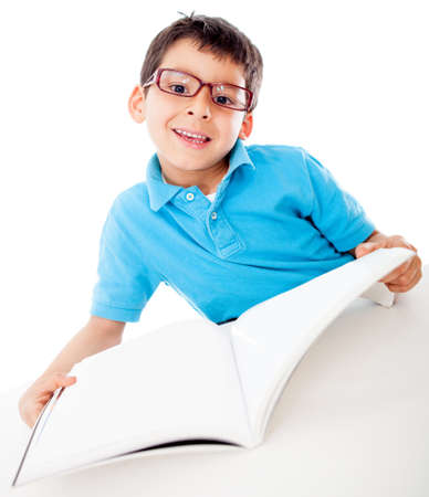 reading glasses: Young male student reading a book - isolated over a white background