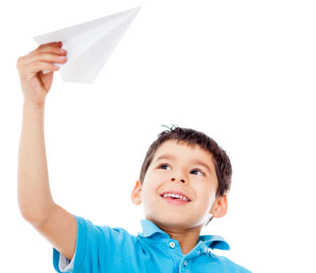 flier: Boy holding a paper airplane - isolated over a white background  Stock Photo