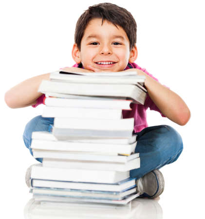 hispanic children: Boy with books for an education portrait - isolated over a white background  Stock Photo