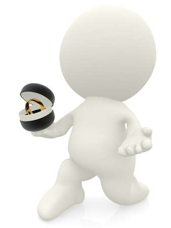 proposal: 3D man proposing and holding a ring - isolated over a white background