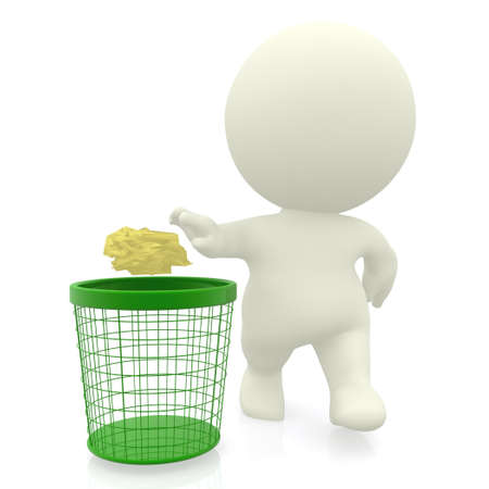 environmental contamination: 3D guy throwing paper in the bin - isolated over a white background  Stock Photo