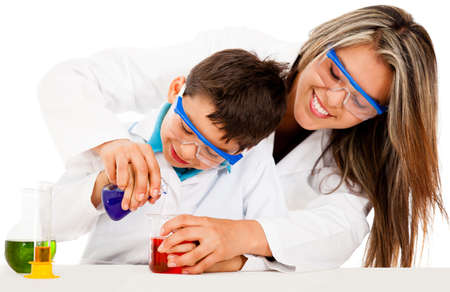 Mother and son playing scientists - isolated over a white background Stock Photo - 13746022