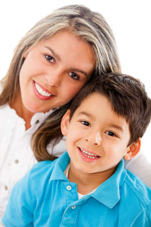 single moms: Happy mother and son - isolated over a white background