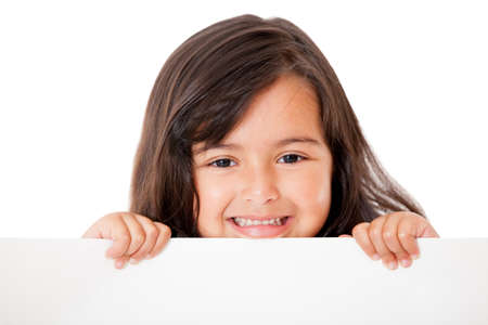 Little girl holding a banner - isolated over a white background  Stock Photo - 13745985