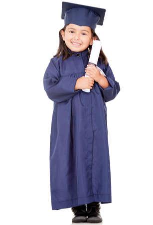 grad: Chica de posgrado que llevaba un birrete - aislados en un fondo blanco Foto de archivo