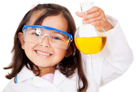 Happy little girl playing at the lab - isolated over white  Stock Photo - 13745951