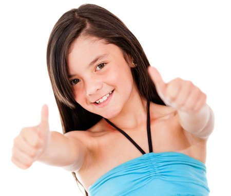 Happy girl with thumbs up looking positive - isolated over white  Stock Photo - 13745937