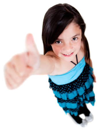 Happy girl with thumbs up - isolated over a white background  Stock Photo - 13745935