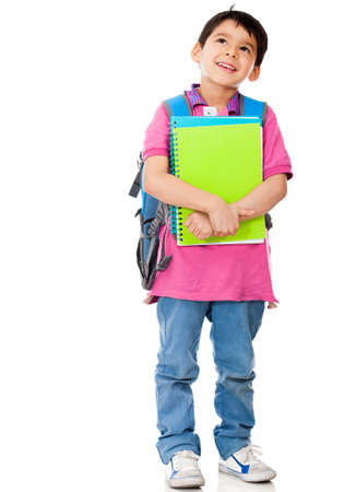 Boy thinking about school - isolated over a white background  Stock Photo - 13745973