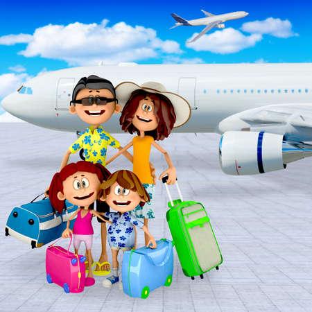 avion caricatura: De la familia en 3D en el aeropuerto de salir de vacaciones