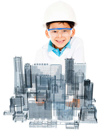 Young male architect designing a modern city - isolated over white  photo