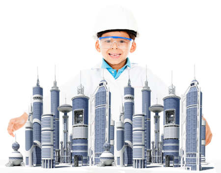 Boy with a modern city and a helmet - isolated over a white background photo
