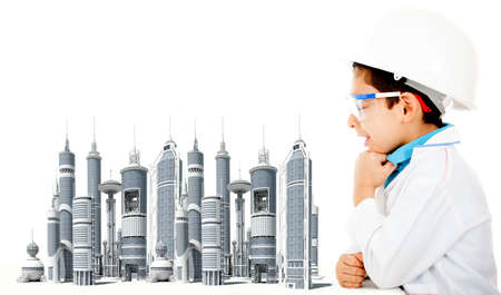 ingeniero civil: Joven ingeniero civil con un modelo de ciudad - aislados en un fondo blanco