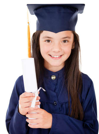 Girl in her graduation holding diploma - isolated over a white background  photo