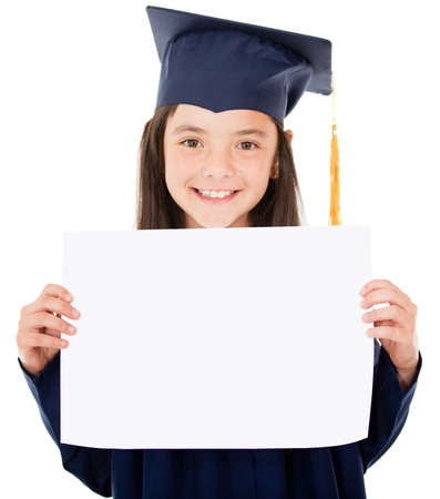 Young female graduate holding her diploma - isolated over white  Stock Photo - 13761776