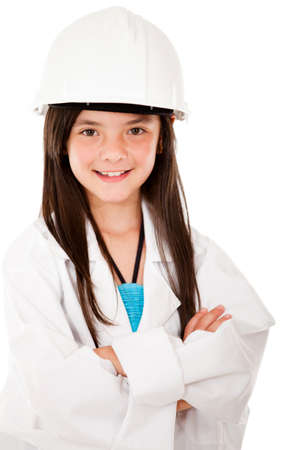 Girl with a helmet playing a civil engineer - isolated over a white background  Stock Photo - 13761845