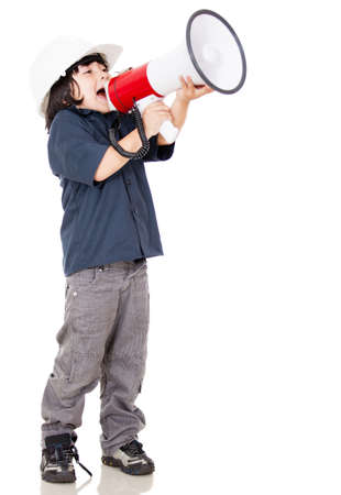 Boy screaming and wearing a helmet - isolated over a white background  photo