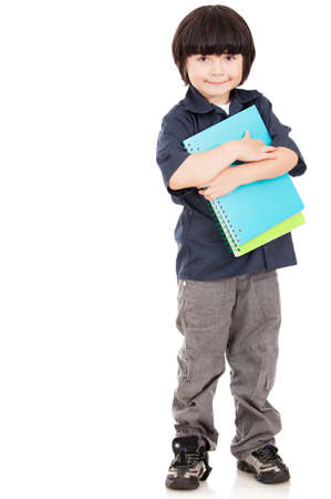 Male elementary school student - isolated over a white background  photo
