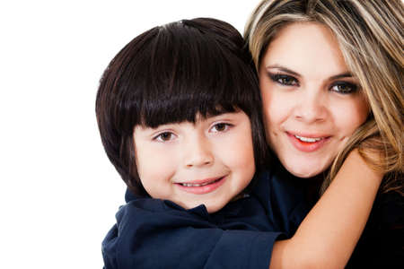 Beautiful mother and son smiling - isolated over a white background  Stock Photo - 13761902
