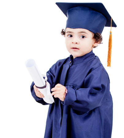 Little boy graduating from preschool - isolated over a white background Stock Photo - 13761848