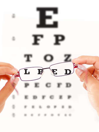 flaw: Eye vision test and sight improving with glasses  Stock Photo