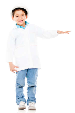 Young engineer with hand extended displaying something - isolated  Stock Photo - 13786016