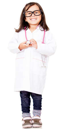 kid doctor: Young female doctor - isolated over a white background