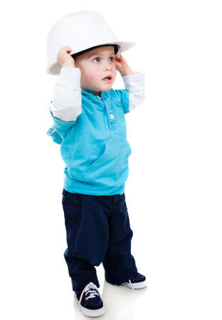 Little boy wearing a helmet - isolated over a white background Stock Photo - 13786026