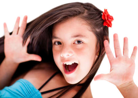 Girl having fun - isolated over a white background  photo