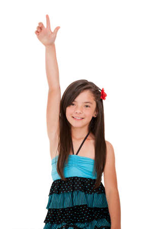 Girl rising her hand - isolated over a white background  photo