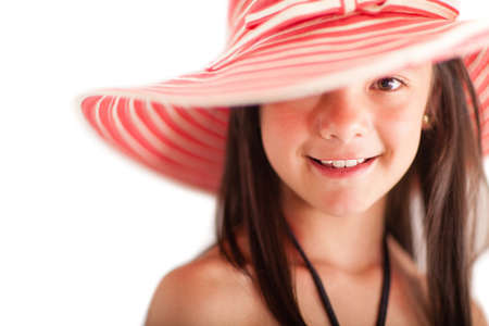 Summer girl with a hat - isolated over a white background  photo