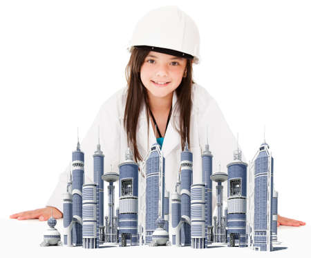 Girl playing to be an architect with the model of a city - isolated over white  photo