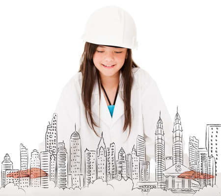 female architect: Young female architect sketching a city - isolated over white