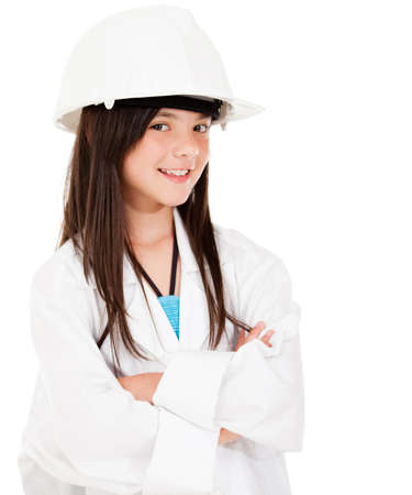 Girl wearing a helmet - isolated over a white background  Stock Photo - 13845693