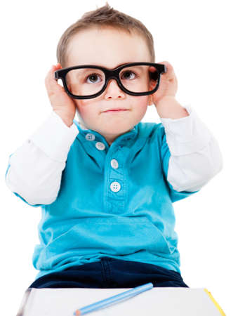 Young geeky student wearing big glasses - isolated over white  photo