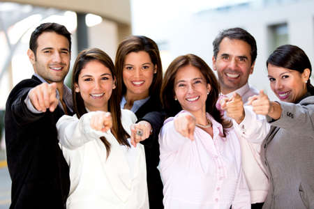 happy people: Happy business group poiting at the camera  Stock Photo