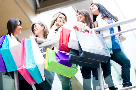shoppers: Group of female shoppers at the shopping center