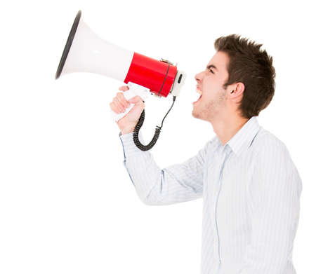 Man screaming with megaphone - isolated over a white background  Stock Photo - 13944375