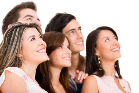 teenager thinking: Grupo de personas que so�ar despierto - aislados en un fondo blanco Foto de archivo