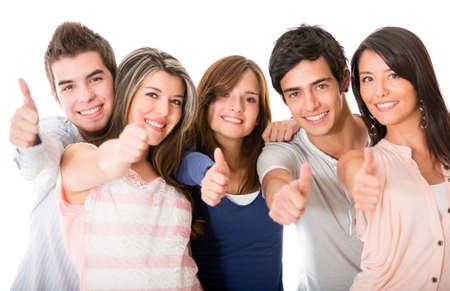 thumbs up group: Gruppo di persone con pollice in alto - isolato su uno sfondo bianco Archivio Fotografico