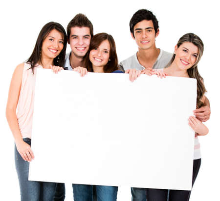 Group of people holding a banner - isolated over white photo
