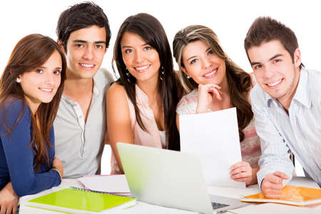 Group of students studying together - isolated over white  photo