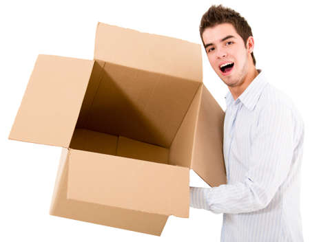 Man holding an empty box - isolated over a white background  Stock Photo - 14008199