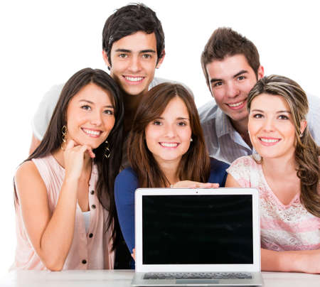Group of young people with a laptop computer - isolated  photo