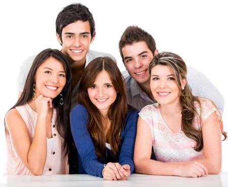 sociable: Gruppo di amici sorridenti - isolato su uno sfondo bianco