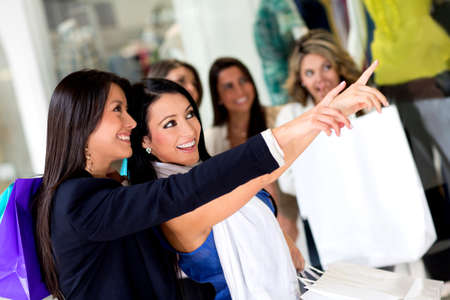 Happy women shopping  and pointing at a window  Stock Photo - 14024354