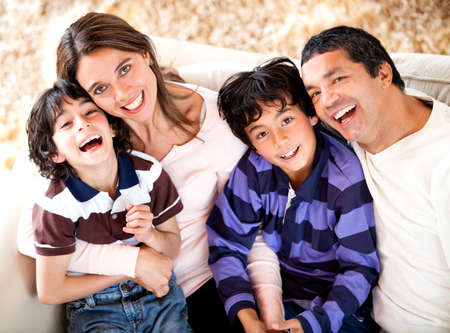latin family: Beautiful portrait of a Latin family smiling