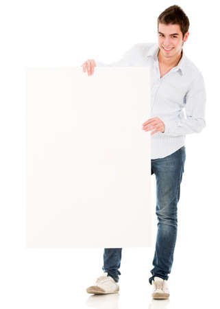 Man holding a banner and smiling - isolated over a white background  photo